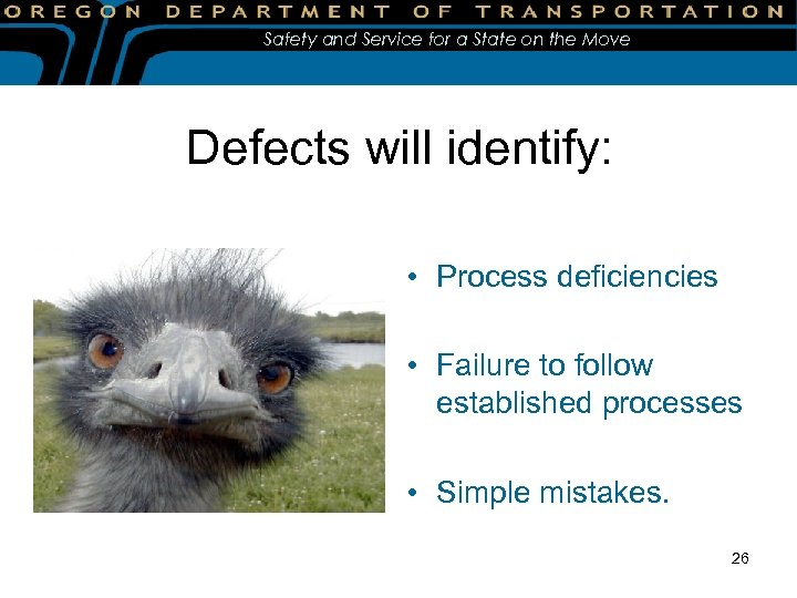 Safety and Service for a State on the Move Defects will identify: • Process