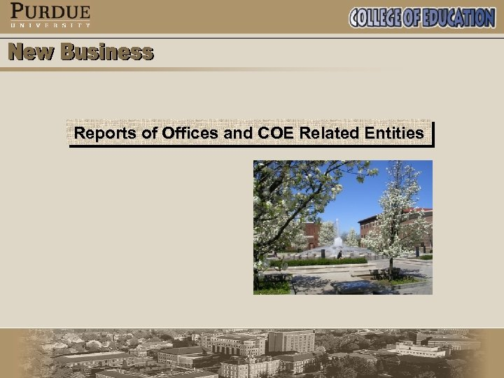 Reports of Offices and COE Related Entities