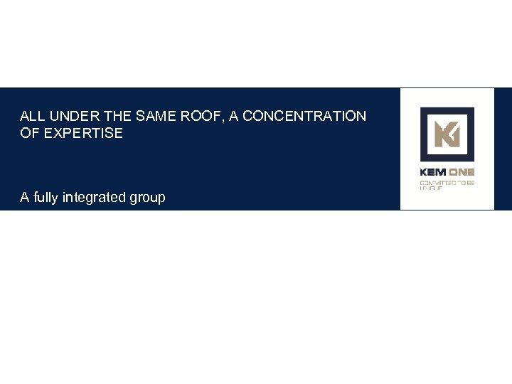 ALL UNDER THE SAME ROOF, A CONCENTRATION OF EXPERTISE A fully integrated group
