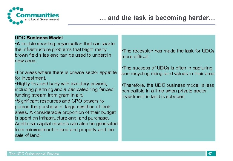 … and the task is becoming harder… UDC Business Model • A trouble shooting