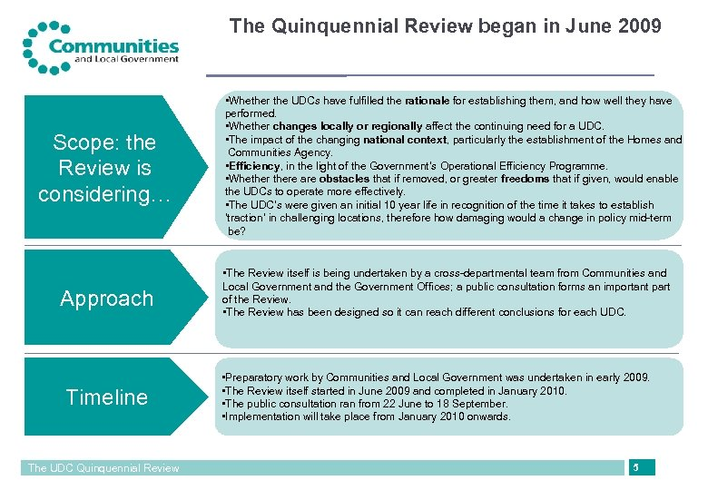The Quinquennial Review began in June 2009 Scope: the Review is considering… Approach Timeline