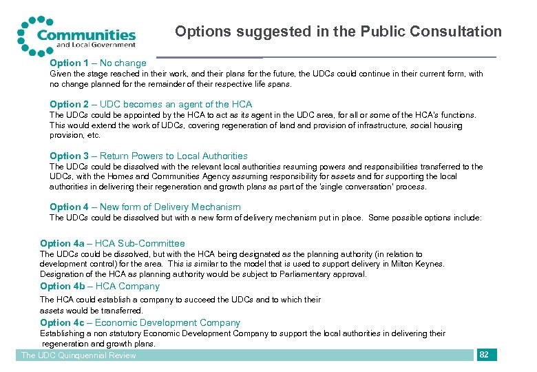 Options suggested in the Public Consultation Option 1 – No change Given the stage