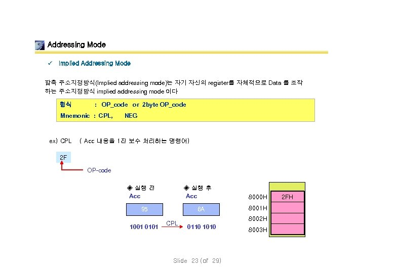 Addressing Mode ü Implied Addressing Mode 함축 주소지정방식(Implied addressing mode)는 자기 자신의 register를 자체적으로