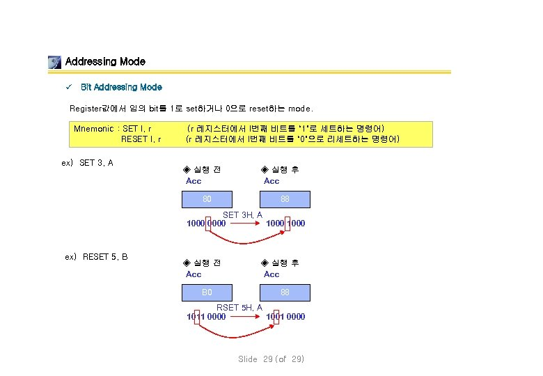 Addressing Mode ü Bit Addressing Mode Register값에서 임의 bit를 1로 set하거나 0으로 reset하는 mode.