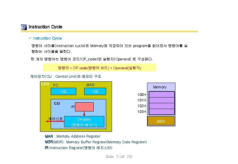 Instruction Cycle ü Instruction Cycle 명령어 사이클(instruction cycle)은 Memory에 저장되어 있는 program을 읽어와서 명령어를