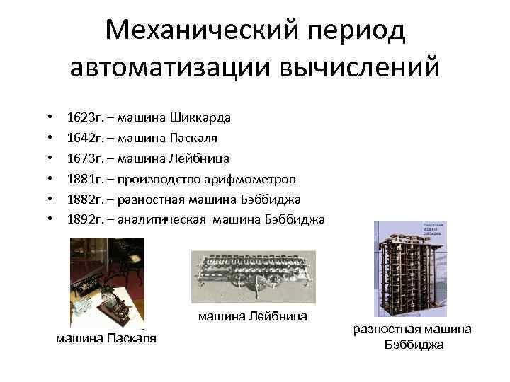 Механический период автоматизации вычислений • • • 1623 г. – машина Шиккарда 1642 г.