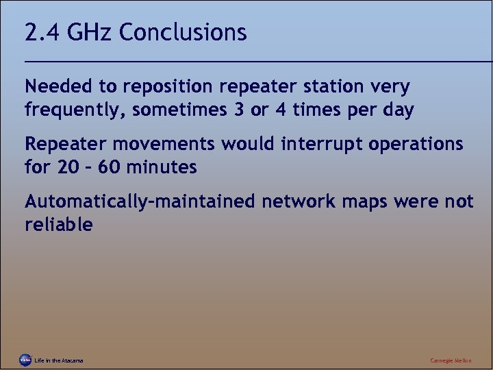 2. 4 GHz Conclusions Needed to reposition repeater station very frequently, sometimes 3 or