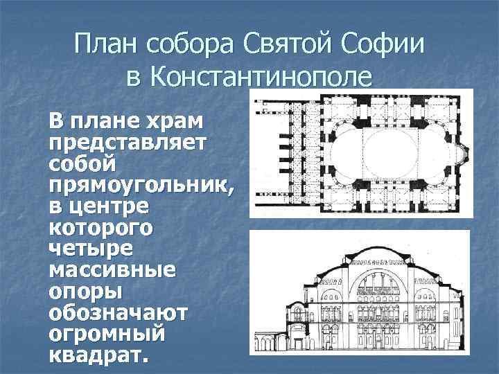 План собора Святой Софии в Константинополе В плане храм представляет собой прямоугольник, в центре
