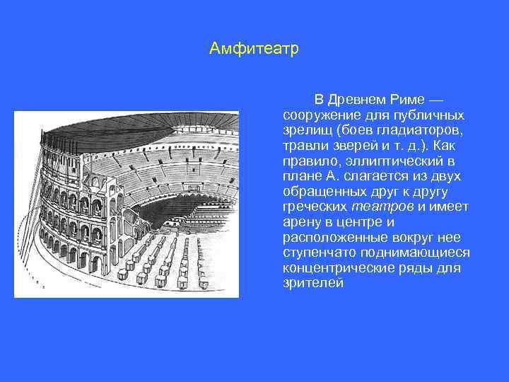 Амфитеатр В Древнем Риме — сооружение для публичных зрелищ (боев гладиаторов, травли зверей и