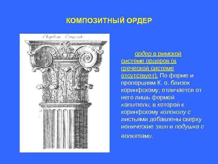 КОМПОЗИТНЫЙ ОРДЕР ордер в римской системе ордеров (в греческой системе отсутствует). По форме и
