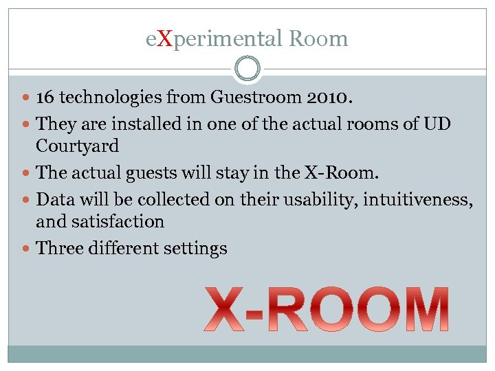 e. Xperimental Room 16 technologies from Guestroom 2010. They are installed in one of