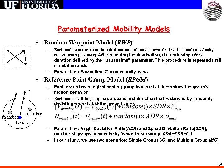 Parameterized Mobility Models • Random Waypoint Model (RWP) – – Each node chooses a