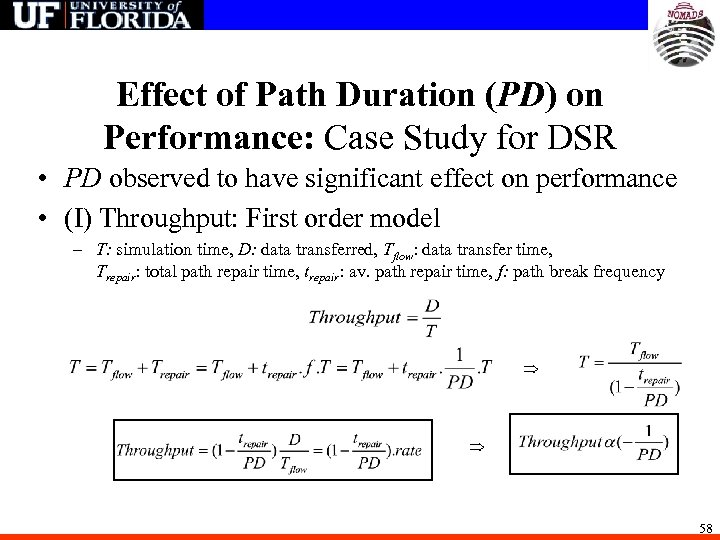 Effect of Path Duration (PD) on Performance: Case Study for DSR • PD observed