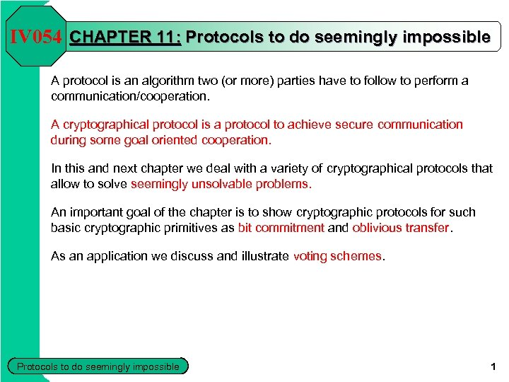 IV 054 CHAPTER 11: Protocols to do seemingly impossible A protocol is an algorithm