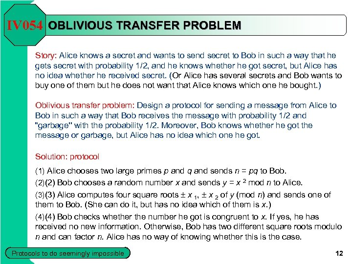 IV 054 OBLIVIOUS TRANSFER PROBLEM Story: Alice knows a secret and wants to send
