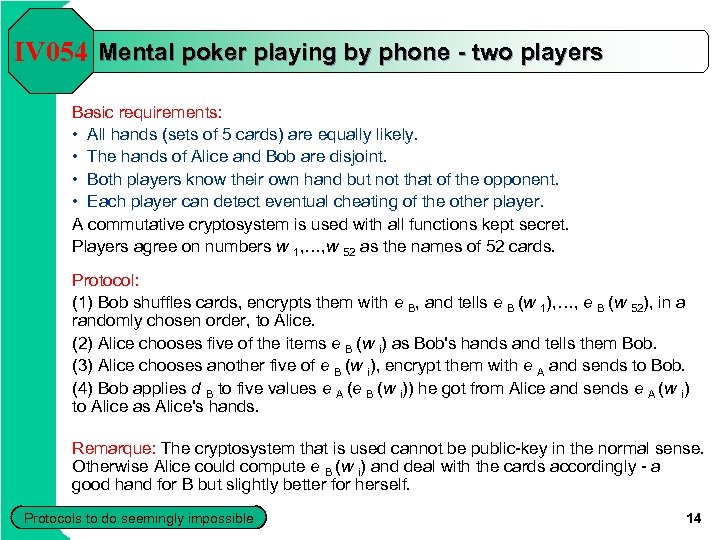 IV 054 Mental poker playing by phone - two players Basic requirements: • All