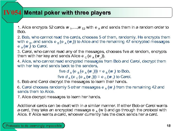 IV 054 Mental poker with three players 1. Alice encrypts 52 cards w 1,