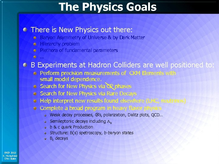 The Physics Goals There is New Physics out there: Baryon Asymmetry of Universe &