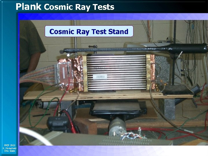 Plank Cosmic Ray Tests Cosmic Ray Test Stand FPCP 2003 K. Honscheid Ohio State