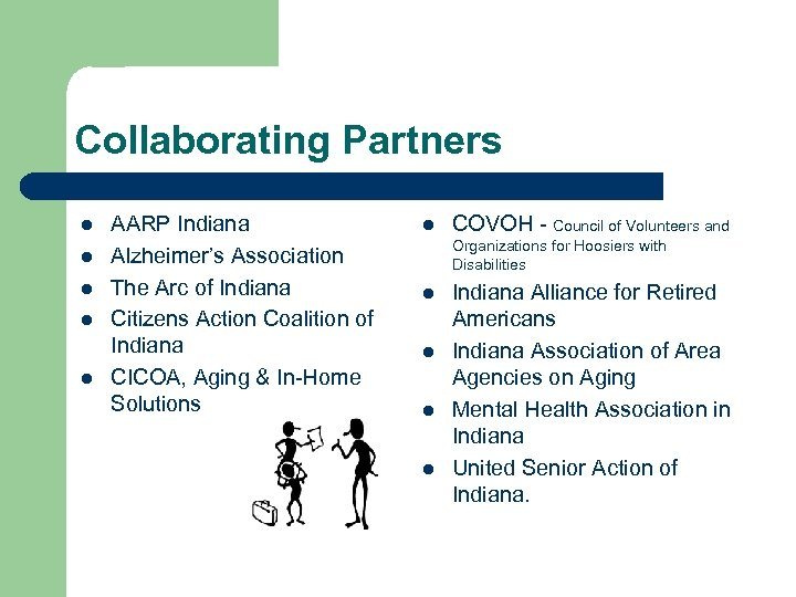 Collaborating Partners l l l AARP Indiana Alzheimer's Association The Arc of Indiana Citizens