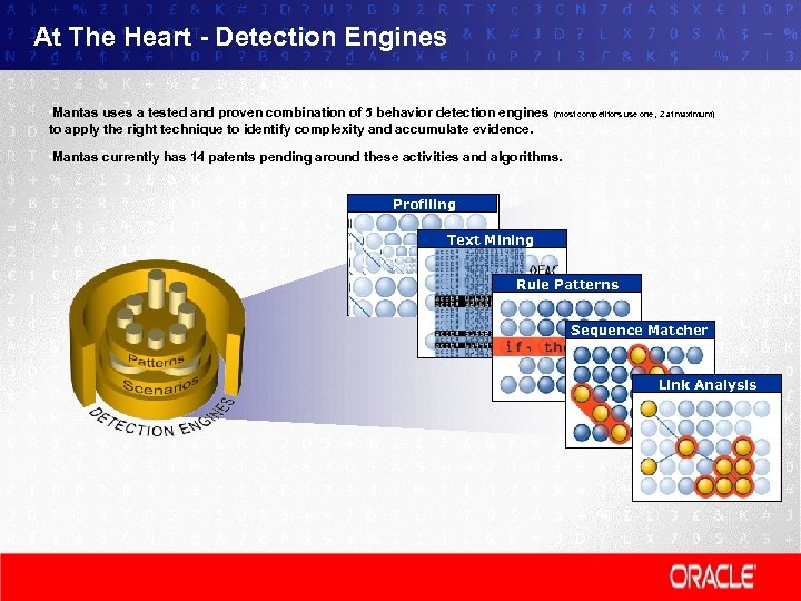 At The Heart - Detection Engines • Mantas uses a tested and proven combination