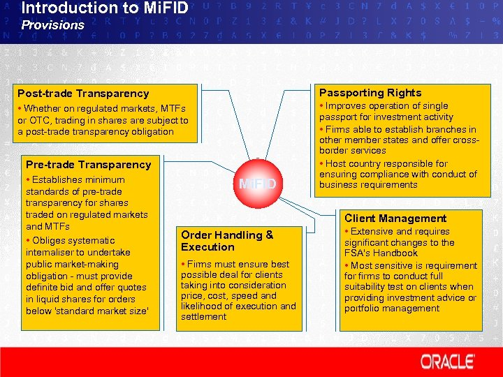 Introduction to Mi. FID Provisions Post-trade Transparency Passporting Rights • Whether on regulated markets,