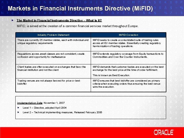 Markets in Financial Instruments Directive (Mi. FID) The Market in Financial Instruments Directive –