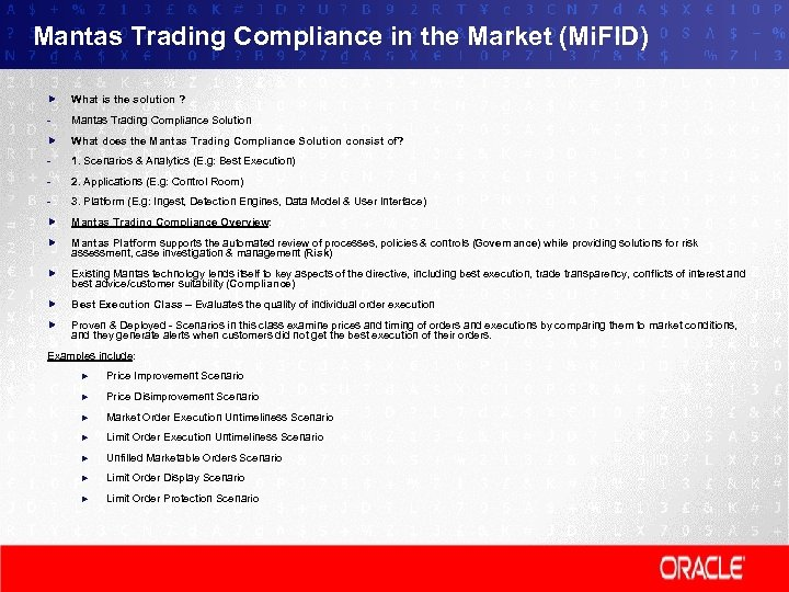 Mantas Trading Compliance in the Market (Mi. FID) What is the solution ? -