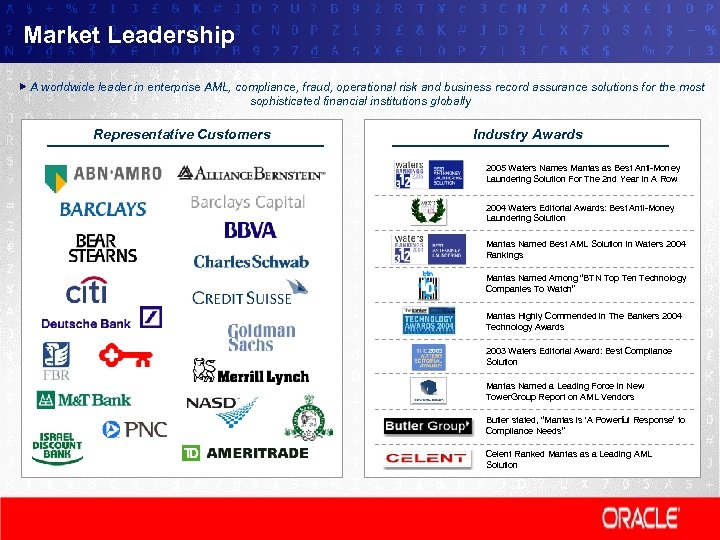Market Leadership A worldwide leader in enterprise AML, compliance, fraud, operational risk and business