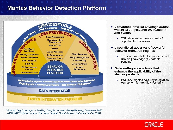 Mantas Behavior Detection Platform Unmatched product coverage across widest set of possible transactions and