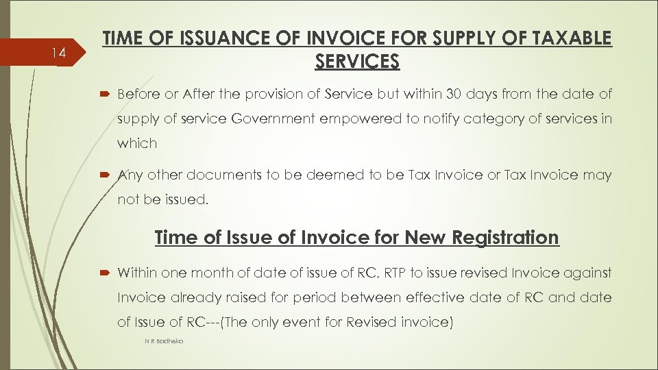 14 TIME OF ISSUANCE OF INVOICE FOR SUPPLY OF TAXABLE SERVICES Before or After