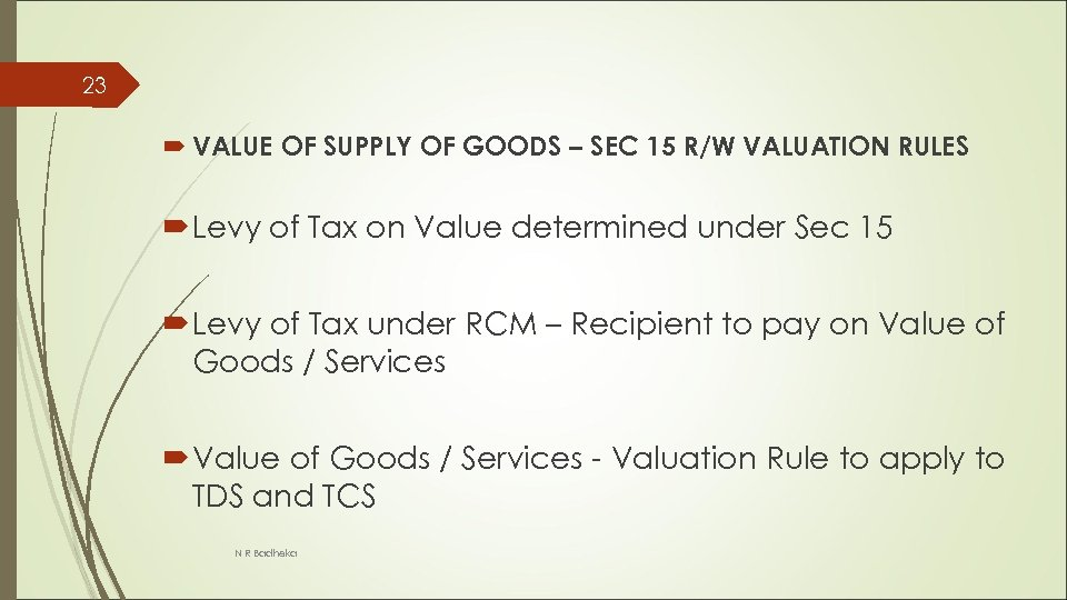 23 VALUE OF SUPPLY OF GOODS – SEC 15 R/W VALUATION RULES Levy of