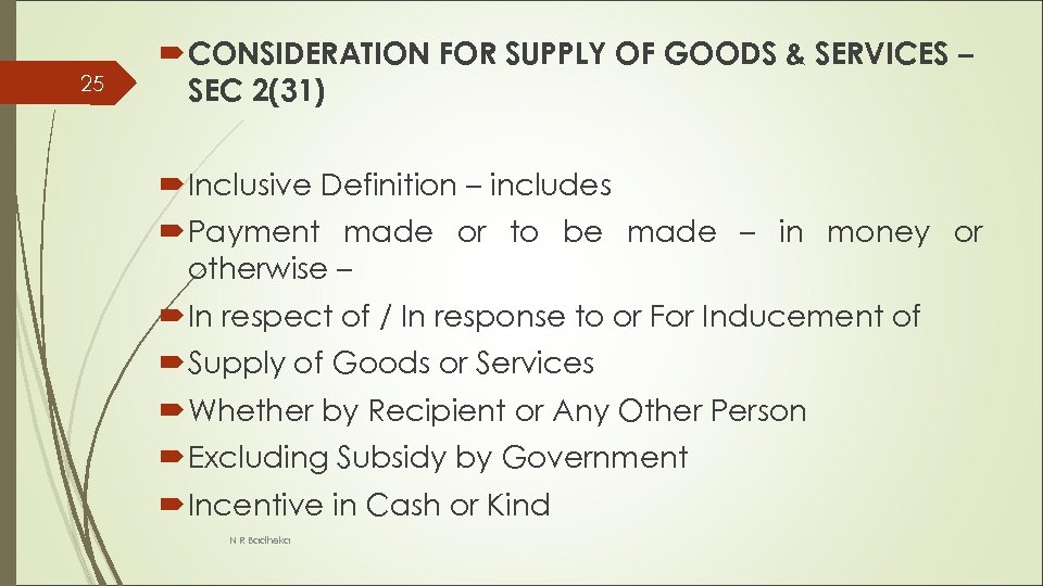 25 CONSIDERATION FOR SUPPLY OF GOODS & SERVICES – SEC 2(31) Inclusive Definition –
