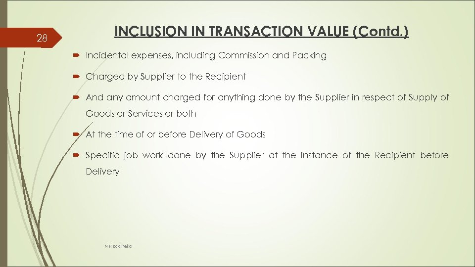 28 INCLUSION IN TRANSACTION VALUE (Contd. ) Incidental expenses, including Commission and Packing Charged