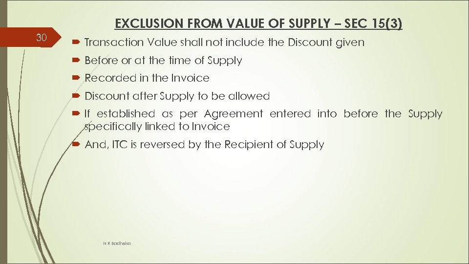 EXCLUSION FROM VALUE OF SUPPLY – SEC 15(3) 30 Transaction Value shall not include