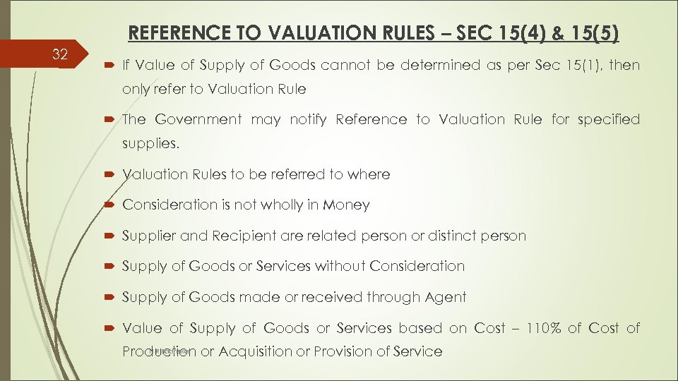 REFERENCE TO VALUATION RULES – SEC 15(4) & 15(5) 32 If Value of Supply