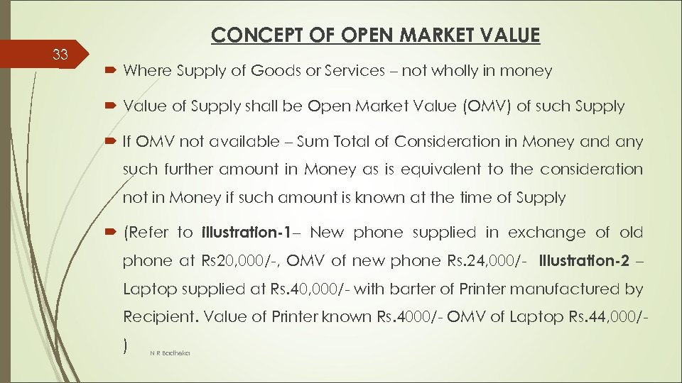 33 CONCEPT OF OPEN MARKET VALUE Where Supply of Goods or Services – not
