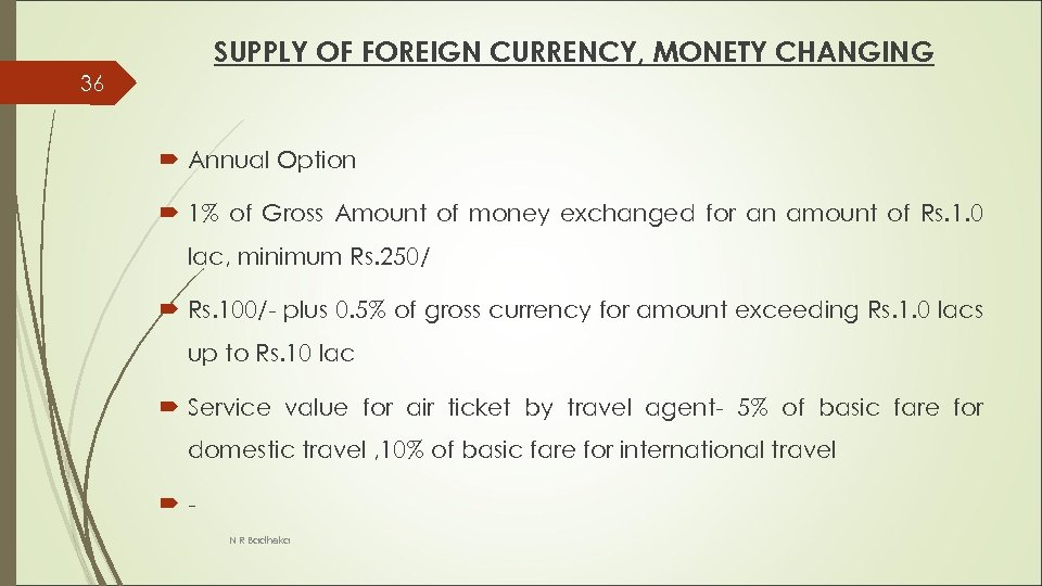 SUPPLY OF FOREIGN CURRENCY, MONETY CHANGING 36 Annual Option 1% of Gross Amount of
