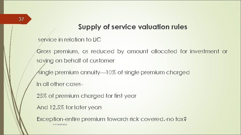 37 Supply of service valuation rules service in relation to LIC Gross premium, as