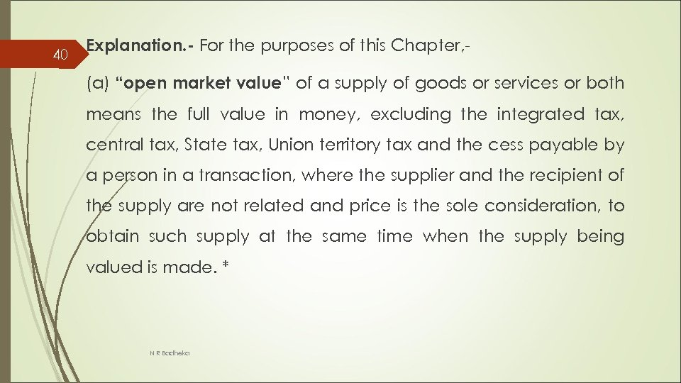 """40 Explanation. - For the purposes of this Chapter, (a) """"open market value"""" of"""
