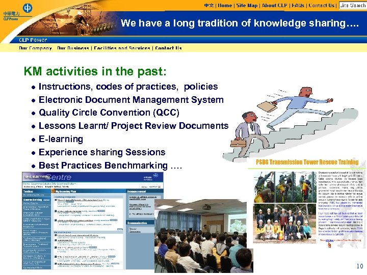 We have a long tradition of knowledge sharing…. KM activities in the past: l