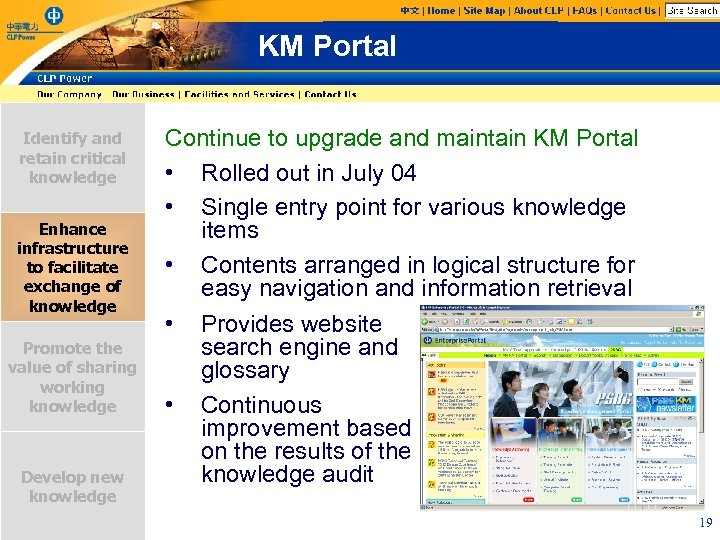 KM Portal Identify and retain critical knowledge Enhance infrastructure to facilitate exchange of knowledge