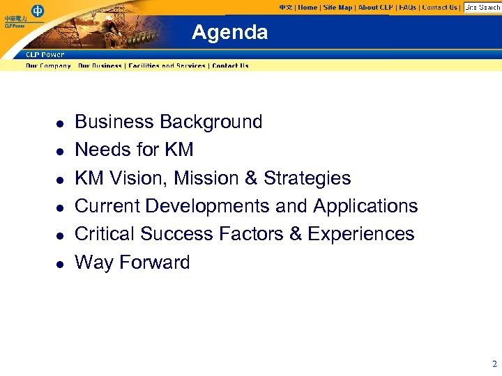 Agenda l l l Business Background Needs for KM KM Vision, Mission & Strategies