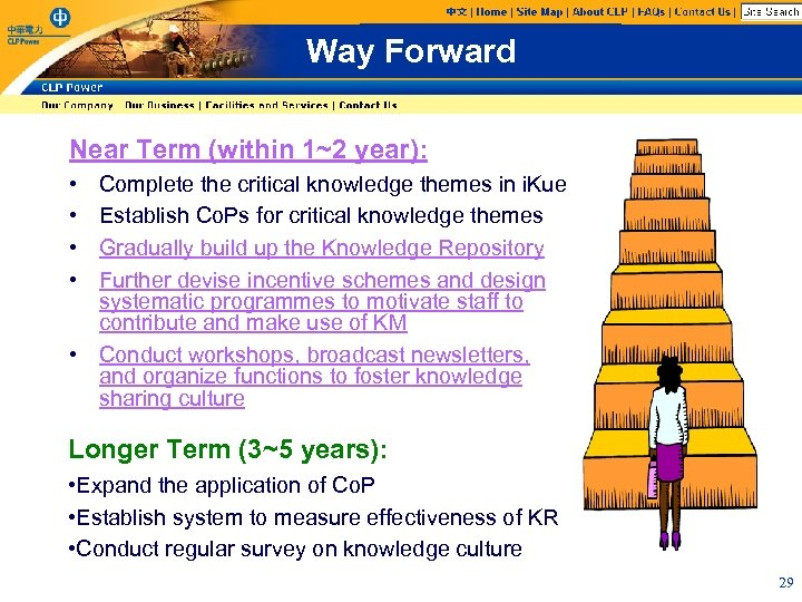 Way Forward Near Term (within 1~2 year): • • Complete the critical knowledge themes