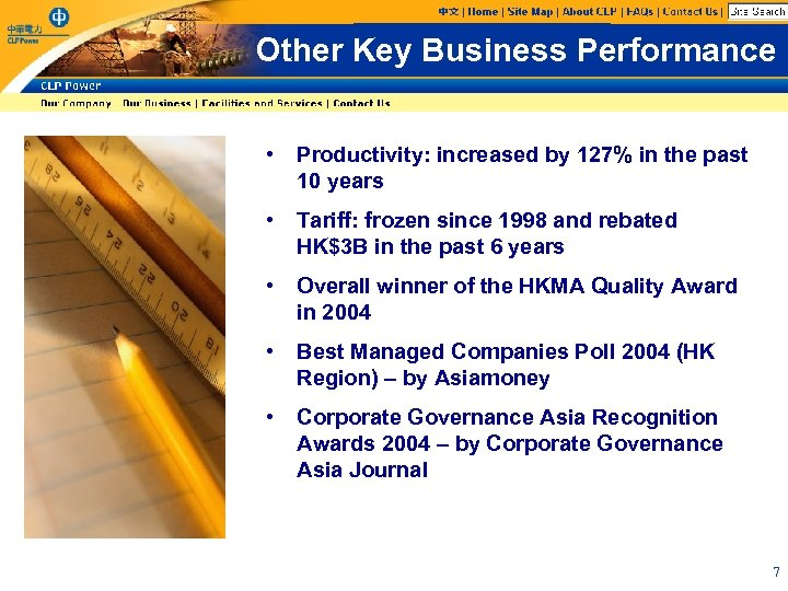 Other Key Business Performance • Productivity: increased by 127% in the past 10 years