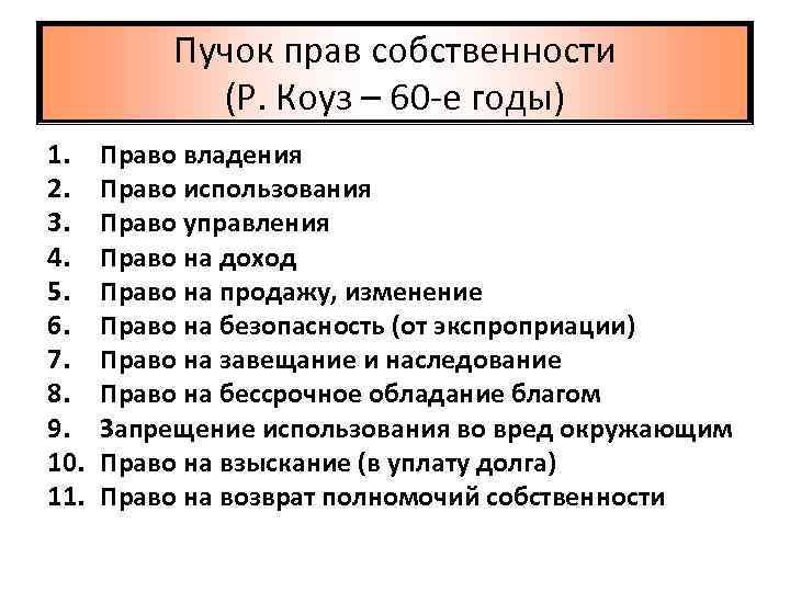 Пучок прав собственности (Р. Коуз – 60 -е годы) 1. 2. 3. 4. 5.