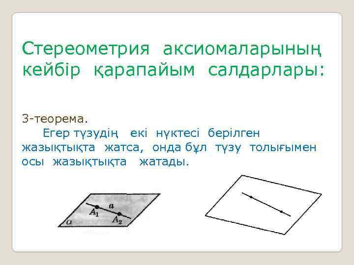 Стереометрия аксиомаларының кейбір қарапайым салдарлары: 3 -теорема. Егер түзудің екі нүктесі берілген жазықтықта жатса,