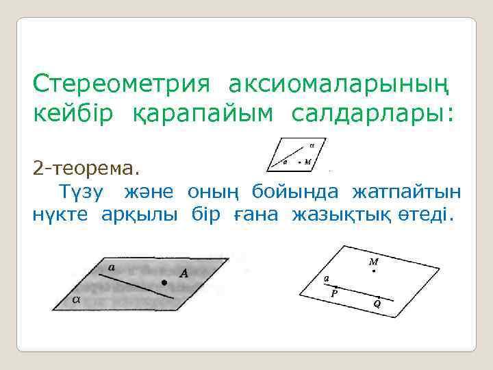 Стереометрия аксиомаларының кейбір қарапайым салдарлары: 2 -теорема. Түзу және оның бойында жатпайтын нүкте арқылы