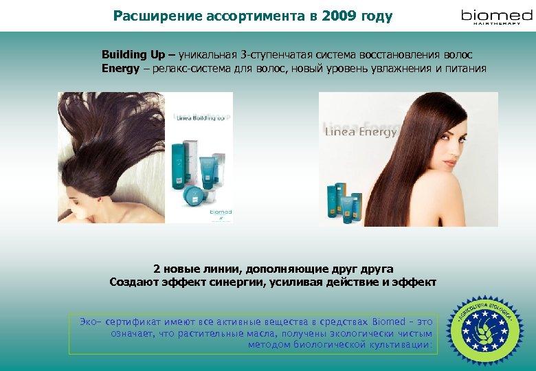 Расширение ассортимента в 2009 году Building Up – уникальная 3 -ступенчатая система восстановления волос