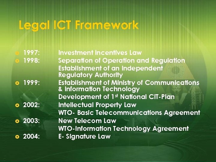Legal ICT Framework £ 1997: 1998: £ 1999: £ 2002: £ 2003: £ 2004: